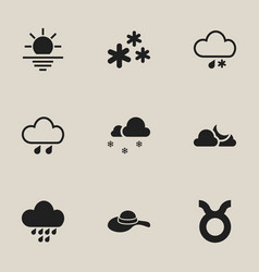 set of 9 editable weather icons includes symbols vector image vector image