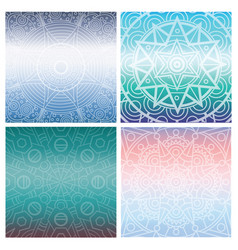 Set of cards with indian mandala on blue gradient vector