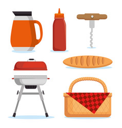 set of picnic icon vector image