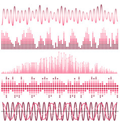 set of pink sound waves vector image vector image