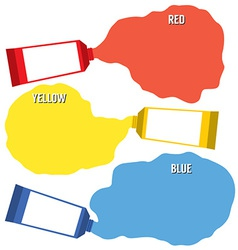 Squeezed primary color tubes vector