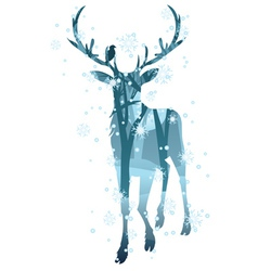 Stag silhouette with forest2 vector