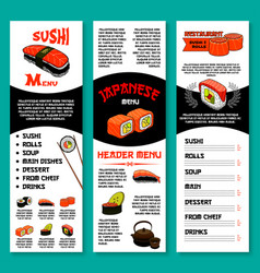 Sushi bar menu template of japanese dishes vector