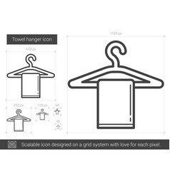 towel hanger line icon vector image vector image