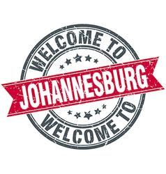 Welcome to johannesburg red round vintage stamp vector