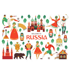 Welcome to russia russian sights and folk art vector