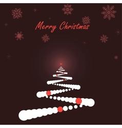 White Christmas tree on dark background vector image vector image