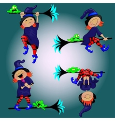 Witch and the FrogBackground vector image vector image