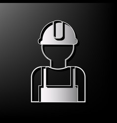 worker sign gray 3d printed icon on black vector image vector image