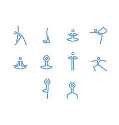 Yoga icons mono symbols vector