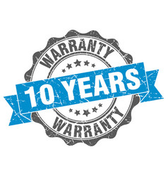 10 years warranty stamp sign seal vector
