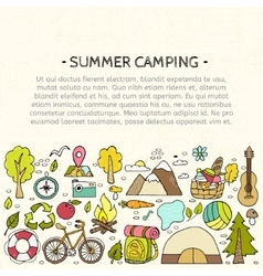 Set of hand drawn camping equipment symbols vector image