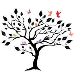 Tree b birds vector