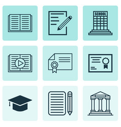 Set of 9 education icons includes diploma vector