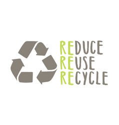 recycle sign and hand drawn lettering vector image
