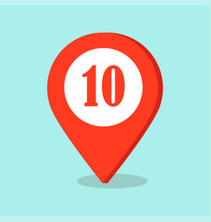 Map pointer location icon with number ten sign vector