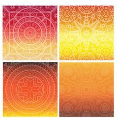 Set of indian mandala on orange gradient vector