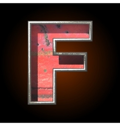 Old metal letter f vector