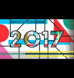 2017 new year pop art typography retro design vector image vector image