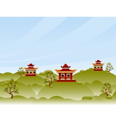 View with pagodas vector