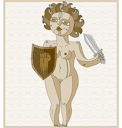 Hand drawn lined of nude woman with sword an vector