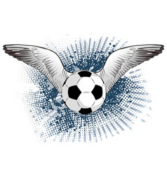 Soccer ball with two wings vector