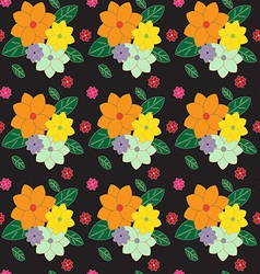 Multicolored floral pattern on dark vector