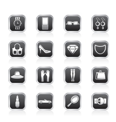 woman and female Accessories icons vector image