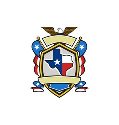 Texas state map flag coat of arms retro vector