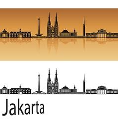 Jakarta skyline in orange vector