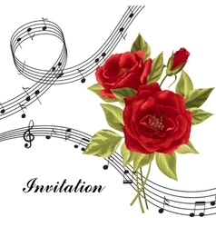 Red roses with music notes vector