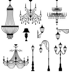 Chandelier and vintage lamp set vector