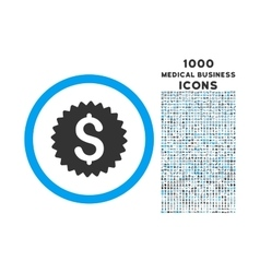 Bank Seal Rounded Symbol With 1000 Icons vector image vector image