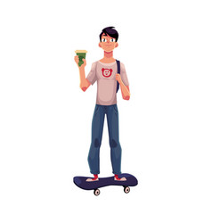 Boy man standing on skateboard longboard with vector
