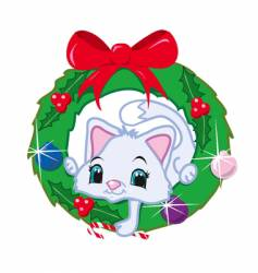cat in a christmas wreath vector image vector image