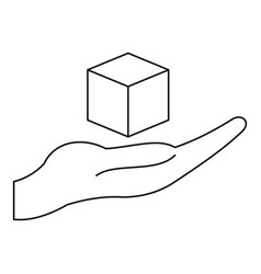 cube 3d model icon outline vector image