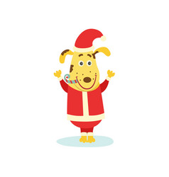 Cute funny puppy dog character in santa suit vector