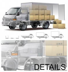 Delivery cargo truck cutaway vector