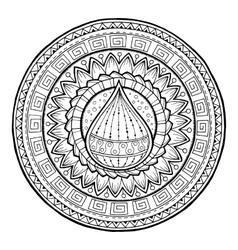 Doodle water drop on tribal mandala vector
