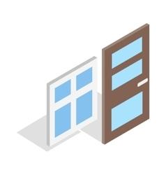 Door and window icon isometric 3d style vector image