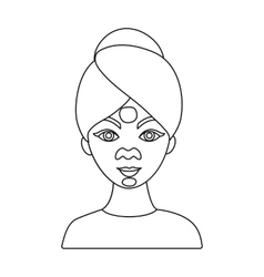 Facial mask icon in outline style isolated on vector