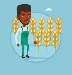 Farmer in wheat field vector