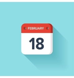 February 18 isometric calendar icon with shadow vector