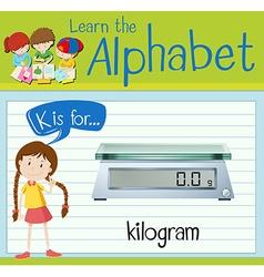 Flashcard letter k is for kilogram vector