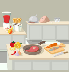 Food cooking lunch concept cartoon style vector