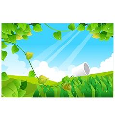 Green landscape blue sky vector image