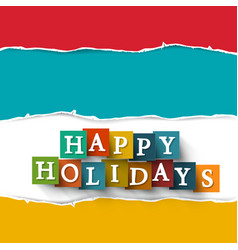 Happy holidays paper cut symbol vector