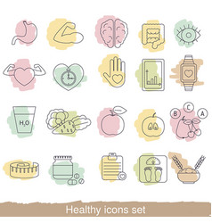 healthy lifestyle icons set healthy lifestyle vector image vector image