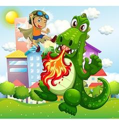 Hero fighting green dragon in park vector