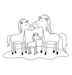 Horses couple and foal over grass in monochrome vector